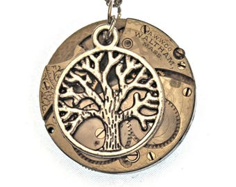 Silver Tree of Life Pocket Watch Necklace