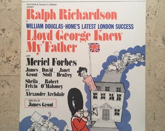 """Free shipping. Ralph Richardson """"Lloyd George Knew My Father"""".  1970s theatre poster"""