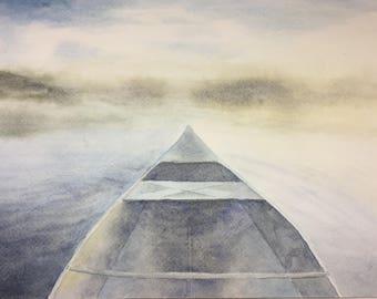 Canoeing yonder: Original watercolor