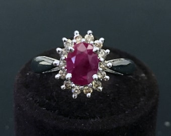 Ring in Silver 925 with 15 diamonds and rubies
