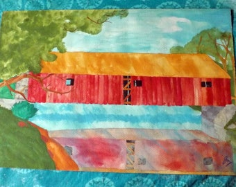 Red Covered Bridge Watercolor Painting