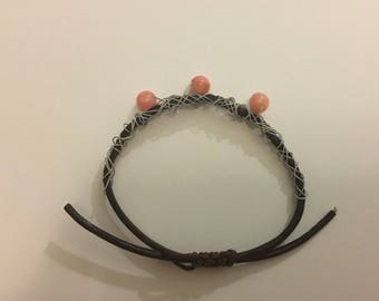 Leather and Wire Bracelet with Pink Beads