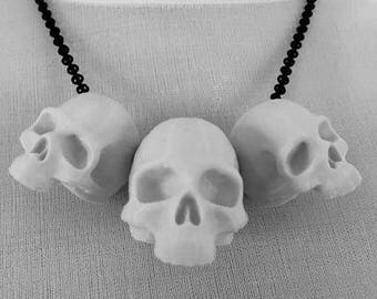 3D Printed Human Skull Necklace - Trio - Black or White