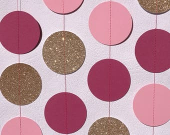 Pink And Glittery Gold Circle Garland - Pink And Gold Wedding Decor - Garden Party Decorations - First Birthday