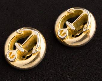 1980s  Clip on earrings Gold Anchor design