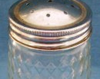 Vintage Retro 1960s Sugar Sprinkler Shaker Glass Container with Chrome Screw on Lid with Holes for Pouring Sugar