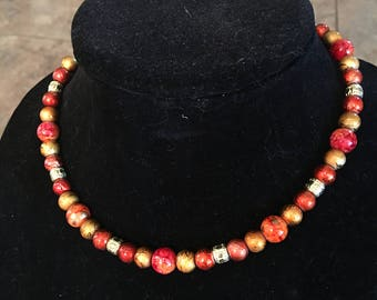 Burnt orange and gold beaded necklace