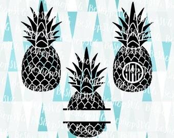 Pineapples SVG, Pineapples Monogram frame SVG, Fruits svg, Tropical fruit Svg, Pineapple bundle Svg, Instant download, Eps - Dxf - Png - Svg