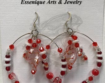 Red and White Peppermint Twist Earrings