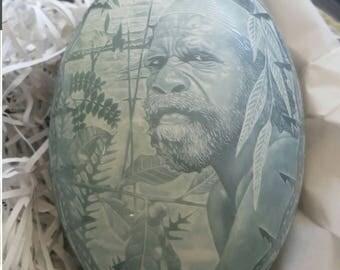 Aboriginal Elder - Emu Egg Carving (by Master Carver Barry Belotti)