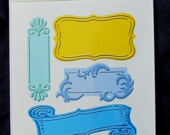CUTTLEBUG FANCIFUL LABELS, Embossing Plus, Cut and Emboss with this folder, Brand new, Cuttlebug embossing folder and die cut, Labels, Tags