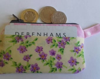 Coin purse in pink polka dot  and floral.