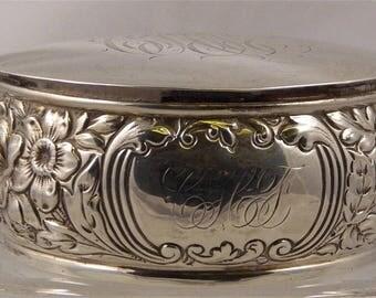 Gorham Sterling Silver Reposse Vanity Box, Monograhmed, Flowers, American, Hallmarked, guaranteed,