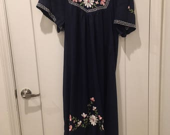 Vintage 70s Peasant Dress