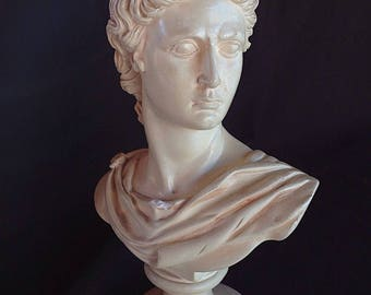 Beautiful bust figurine of Apollo, very fine detail, patina satin stone 32cm