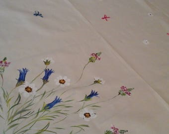 hand-painted flowers tablecloth