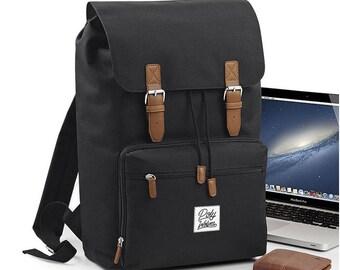 Old School laptop backpack with vintage look