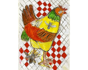 Chicken Mixed Media Painting