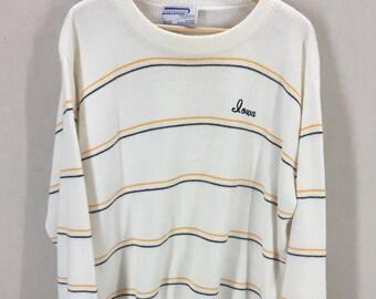 Vintage Marlomar Iowa Striped Knit Sweater~Hawkeyes~Sz Large~USA Made