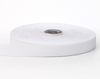 Twill tape, 1-inch Wide, 36 yds, White