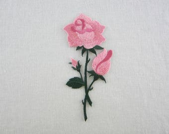 Pink Rose Patch, Iron On Flower Patches Love Series