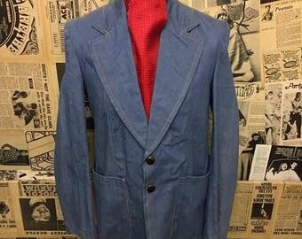 "Vintage Original 1970s Denim Blazer Jacket by Lord John Size 40"" Medium"