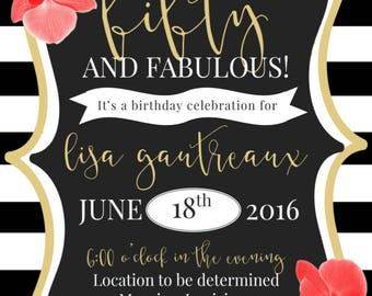 Fifty and fabulous floral invitation