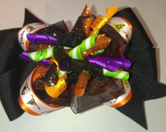 Layered Halloween Witches Hat Bow