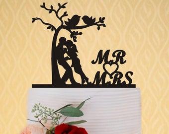 Custom Wedding Cake Topper - Mr and Mrs Love Tree Wedding Cake Topper - Personalized Monogram Cake Topper - Letter Cake Topper