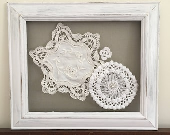 Shabby Chic Framed Lace Doilies with Bling