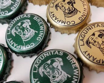 Beer Bottle Caps -Lagunitas - recycled - upcycled- repurposed - for crafting -Lot of 50 caps 25 each green and gold