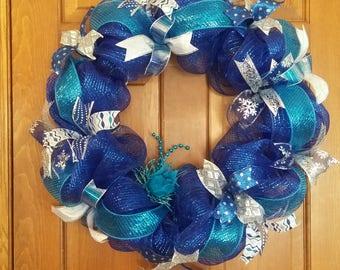 "Winter mesh/ribbon wreath. 24"""