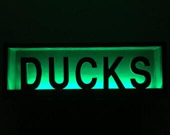 Oregon Ducks sign shadow box with led strip lights