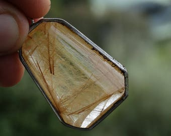 26 g Golden Rutilated Quartz Jewellery Pendant  #E059