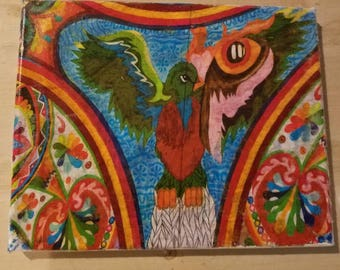 Quetzal, handmade gift, Guatemala, photo transfer, decor, wall art, birds, kite, colorful, travel, decoration, gift, custom, latin America