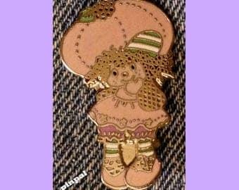Vintage 1981 Raspberry Tart Brooch Pin ~ Cloisonne ~ A.G.C. ~ Strawberry Shortcake Set ~ © American Greeting Cards