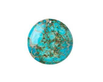 Focal gemstone component, magnesite dyed, blue turquoise 40mm hand-cut flat round.
