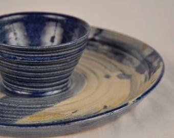 Vintage Handmade Ceramic Chips and Dip Serving Dish, Blue and Cream Serving Dish, Boho,  Serving dishes, Veggie platter