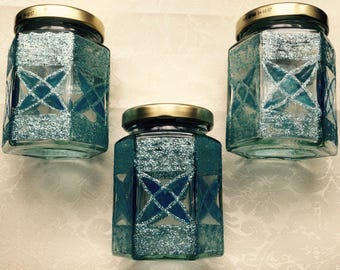 Blue Art Deco jars set