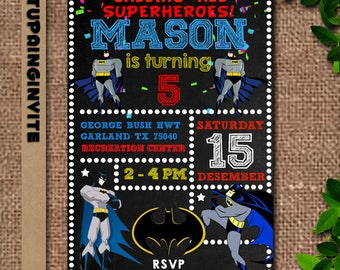 Batman,Batman Invitation,Batman Invites,Batman Birthday,Batman Birthday Invitation,Batman Birthday Party Supplies,Batman Birthday Party