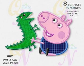 BOGO FREE! George Pig applique embroidery design, Peppa Pig Machine Embroidery Designs, Embroidery designs baby, Instant Download, #035