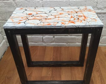 Abstract resin art, side table.