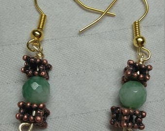 Natural Jade and Copper Drop Earrings