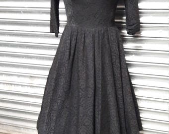 1950s Jonathan Logan black.lace dress
