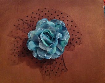 Pin on artificial flower corsage teal with netting