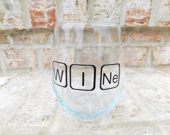 Periodic table Chemistry: stemless wine glass, chemistry wineglass, science wineglass, nerd wineglass