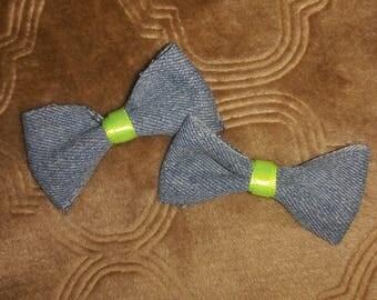 Denim hair bows