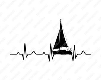 Sailing In A Heartbeat PNG/PNG/PNG Files/Art/Art Prints/Design/Design Tshirt/Instant Download/Design Your Own/Art Prints Vintage
