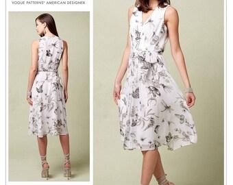 Vogue Sewing Pattern V1543 Misses' Lined V-Neck Dress with Front Pleats & Self-Belt