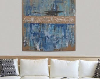 Large Blue and Gold Abstract Painting, Abstract Painting, Modern Art on Canvas